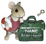 """"""" Reise - Kasse """" - Spardose Maus / mit Tasche - mit Schlüssel + Namen - stabile Sparbüchse aus Kunstharz - Reisen Geld Sparschwein Reisekoffer Urlaubskasse Kofferkasse"""