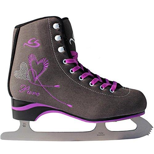 Cox Swain Figure Damen + Kinder Eiskunstlauf Schlittschuh -LEXA- alle Größen, Colour: Dark Grey, Size: 43