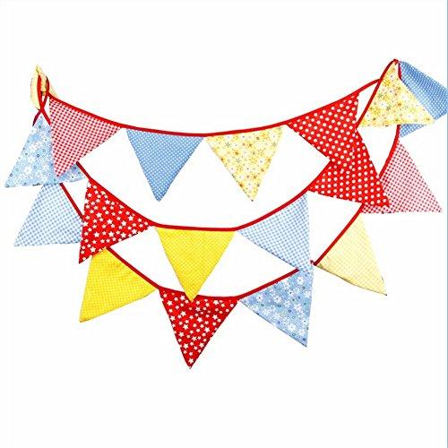 4.3M 18Flaggen Girlanden Vintage Stoff Wimpelkette Colorful Pennant Hochzeit Geburtstag Party Dekoration Banner, Baby Dusche Foto Prop Home Dekoration (18 Flagge)