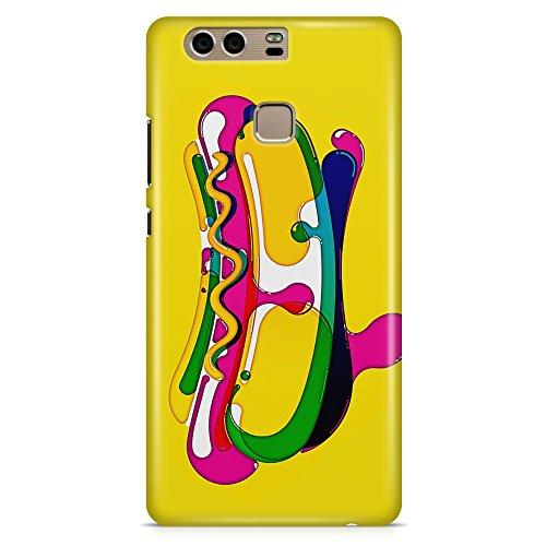 Cover Custodia Protettiva Hot Dog Cibo Panino Disegno Pennello Acqua Stile compatibile con Huawei P8 - P8 Lite - P8 Lite 2017 - P9 - P9 Lite - P9 Plus - P10 - P10 Lite - P10 Plus - Honor 8 - Honor 9