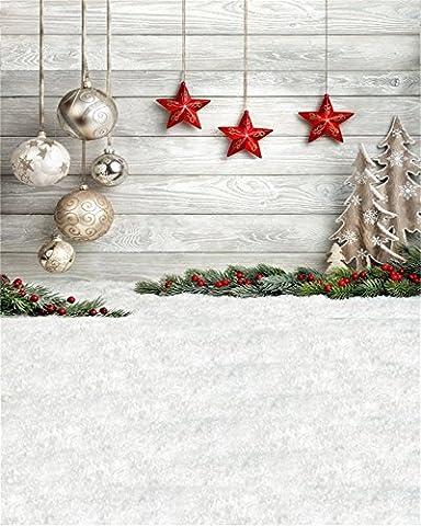 Aaloolaa 2,5x3m Fotografie Backdrop Vinyl Foto Hintergrund Chic Christmas Ball Ornament Wooden Wall Soft Carpet Floor Newborn Child Kid Baby Family Xmas Scene Props Video Shooting Studio