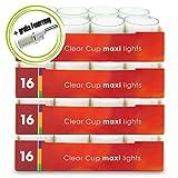 DecoLite Bundle: 64 Maxi-Teelichter (4 Pack) mit 9 Stunden Brenndauer im durchsichtigen Becher & Kerzenprofi Stabfeuerzeug