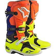 Alpinestars - stivali moto cross alpinestars tech 10 orange fluo,blue,white,yellow fluo - sac6e - 45.5