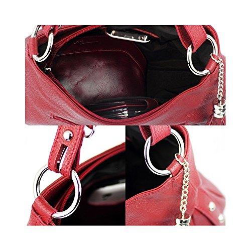 Olivia - Sac à main cuir rose/fushia N1379 Sac en cuir véritable Collections printemps-été - Rose, Cuir Rot