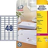 Avery Zweckform L7636-25 Adress-Etiketten (A4, 1.200 Stück, 45,7 x 21,2 mm) 25 Blatt weiß