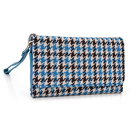 Kroo Housse de transport Dragonne Étui portefeuille pour Samsung Galaxy S III mini/Ace 4/S4Zoom Mint Blue and White Blue Houndstooth and Blue