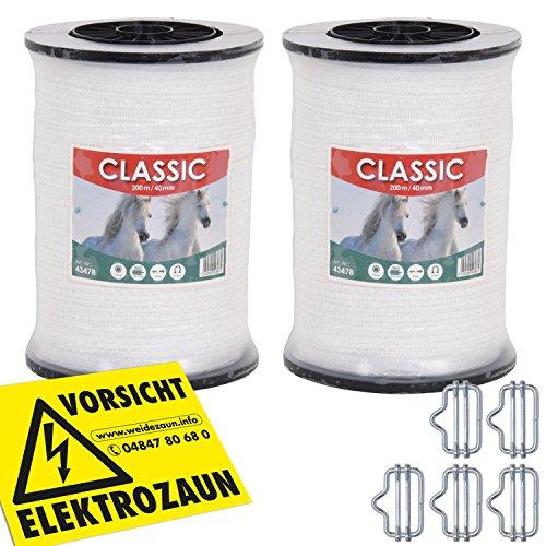 *Weidezaunband 40mm CLASSIC 8 x 0,16 Niro, weiß, Weidezaun und Elektrozaun Band, Elektroband, Pferdezaun, Pferdeband, Ponyzaun, Sparset (400 m)*