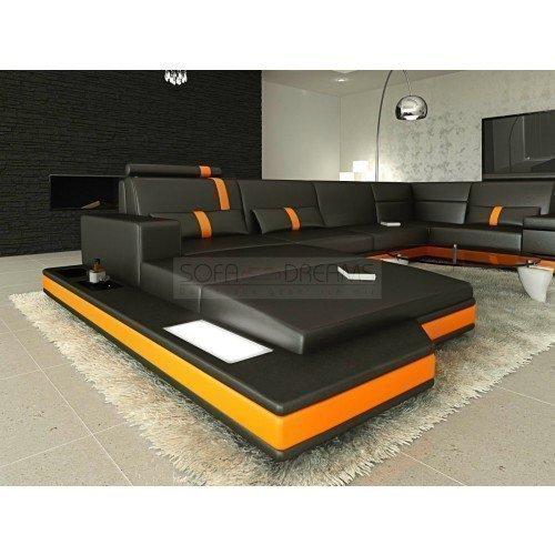 Mega Intérieur de la maison Messana forme U Noir Orange Canapé Canapé d'angle avec éclairage