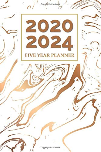 2020 2024 Five Year Planner: 2020 - 2024 Calendar Planner for Women   Flat Rubbed Bronze on White   Sunday Start   Jan - Dec -