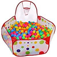 Kunmuzi Kids Ball Pit, Indoor & Outdoor Play Tent Playpen Ball Pit Pool with Basketball Hoop Zippered Storage Bag (Balls not Included)