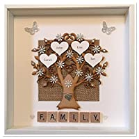 Personalised Scrabble Family Tree 3D Box Picture Frame Scrabble Silver Glitter Up To 14 Names