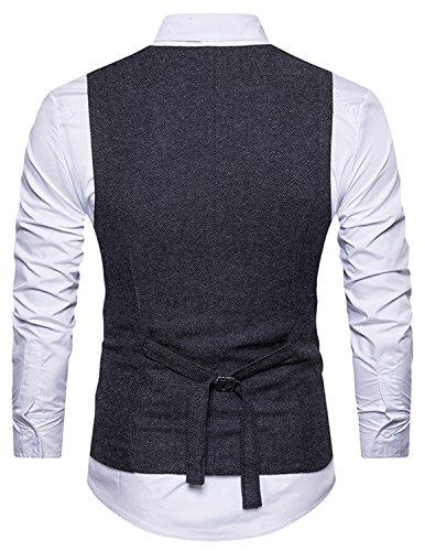 Boom Fashion Herren doppelt breasted Anzugweste Freizeit Business Casual Slim Fit Weste V-Ausschnitt Blazer Schwarz