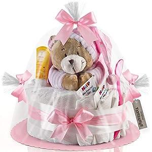 Timfanie® Windeltorte | Spieluhr (1-stöckig/zart-rosa) | Windeln Gr. 2 (Baby 4-8 Kg)