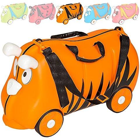 TecTake Maleta de viaje con ruedas para niños coche infantil caja de juguettes - disponible en diferentes colores - (Tigre | No.