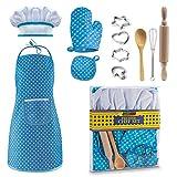 MRKE Küchenspielzeug 11 Stücke Kochset Kinder DIY Gebäck Bäcker Werkzeug mit Schürze für Junge und Mädchen (Blau)