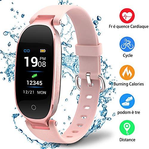 Montre Connectée Sport Fitness Tracker d'Activité Montre Étanche IP67 Bracelet Intelligent Podomètre Calories Sommeil-pour Femme Homme Sport/Android et iOS Portable (Rose)