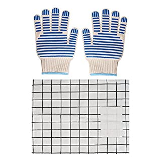 GLANICS Oven Gloves, Pot Holder Heat Resistant BBQ Grill Oven Mitts for Cooking Baking