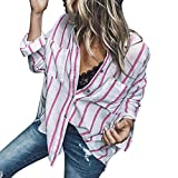 IMJONO Bluse Damen elegant Frauen Spitze Mode Vintage,Damenmode gestreifte Lange Hülsenknopf lose beiläufige Bluse Shirt Tops(X-Large,Rosa)