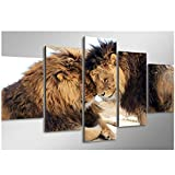 SMENGJIA Home Decor Leinwandbild, 5 Stück, HD Löwen-Drucke, Tier-Wandkunst, modulares Nacht-Hintergrundbild, Kunstdruck, Poster, 40 x 60 x 2 x 40 x 100 cm, ohne Rahmen