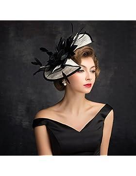 RAN Sombrero de tocado nupcial Sombrero de Derby de la iglesia hecha a mano de la malla de las flores hechas a...