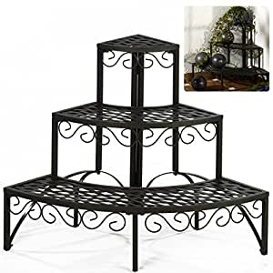 pflanztreppe 3stufen rund metall eckregal blumenregal. Black Bedroom Furniture Sets. Home Design Ideas