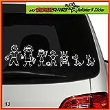 große Familie Modell 3 Aufkleber ca. 25 cm breite , Sticker-Familie Aufkleber Sticker Family breite Auto Aufkleber Autoaufkleber Familien Scheibe Lack Heckscheibe fürs Auto Familienkutsche Lustig Spass mit Montage Set inkl.
