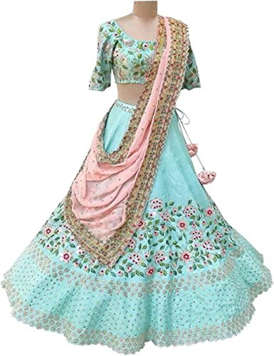 New Latest Bollywood Designer Sky Blue Embroidered Lehenga Choli