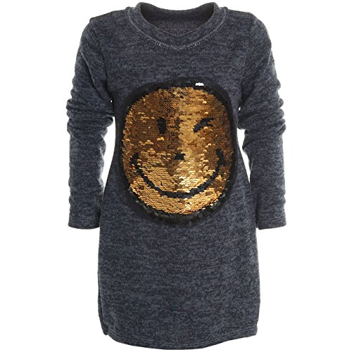 Mädchen Longshirt Bluse Shirt Pullover Langarmshirt Strickkleid Sweatshirt 20676, Farbe:Blau;Größe:116