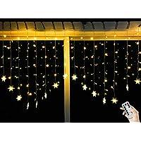 BLOOMWIN Guirnaldas Luces Cortina 2x1M Copo de Nieve con Control Remoto 8 Modos 104 LED 220V Cadena de Luces de Navidad para el Balcón, Ventana, Pared, Escaparate, Boda, Fiesta, Navidad