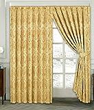 Rubby Vorhang Ornament Barock Gold Gardinen mit Kräuselband 2 Vorhänge 167x183cm (BxH) Gardine für Wohnzimmer Schlafzimmer -2er set