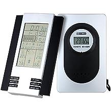 Anself 433MHz Estación Meteorológica Reloj Digital Multifuncional Inalámbrica de Termómetro Higrómetro Barómetro Calendario para ambos Exterior y Interior