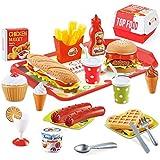 BeebeeRun 40 Piezas Alimentos de Juguete,Juguetes Niños 2 Años 3 Años,Cocinas de Juguete para niños,Regalos de cumpleaños Edu
