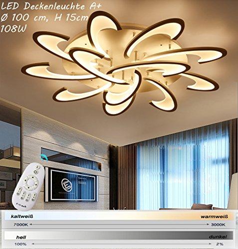 Eurotondisplay 2127-12W LED Deckenleuchte mit Fernbedienung Lichtfarbe/Helligkeit einstellbar Acryl-Schirm weiß lackierte Metallrahmen (2127-12)