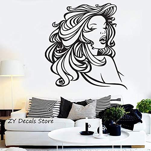 supmsds Silhouette Dame Wandaufkleber Mädchen Zimmer Schöne Haar Vinyl Wandtattoos Schlafzimmer Wohnkultur Friseursalon Fenster Decorate72.8X76.7CM