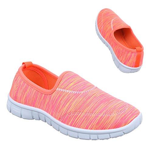 Damen Schuhe, C27-11, HALBSCHUHE SLIPPER FREIZEITSCHUHE Pink Orange