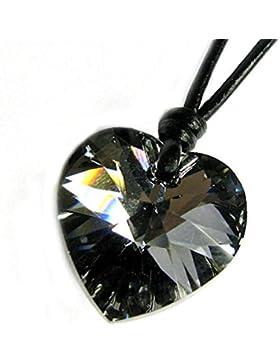 Swarovski Elements Kristall silver-night Love Herz Anhänger Halskette Baumwolle gewachst Choker verstellbar