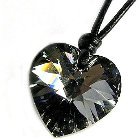 Queenberry -  Ciondolo a forma di cuore, elementi in cristalli Swarovski, argento/notte, collana girocollo in pelle, regolabile