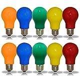 10er Set farbige LED Leuchtmittel Birnenform 3W = 25W E27 Rot Gelb Grün Blau Orange auch Außenbereich