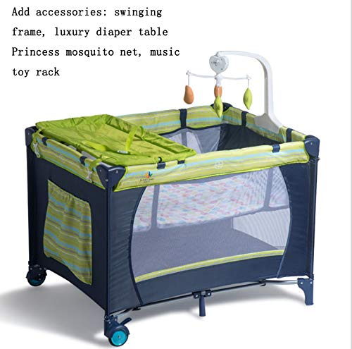 Mr.LQ Crib Folding Crib Multi-Function Game Bed Portable Bunk Bed Crib Fence Custom Baby Game Bed Bed,Green  1, atmospheric design (European style, atmospheric design) 2, health and environmental protection (baby play peace of mind) 3, multi-function (sleep and play two functions) 2