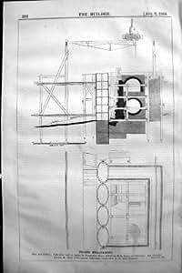 Caissons 1864 de première pierre de batardeau de remblai de la Tamise de plan de constructeur