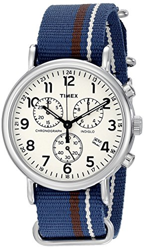 Timex Chronograph Dial Weekender Chrono Oversize Blue/Cream/Brown Striped Slip-Thru Nylon Strap Unisex Watch  available at amazon for Rs.6116