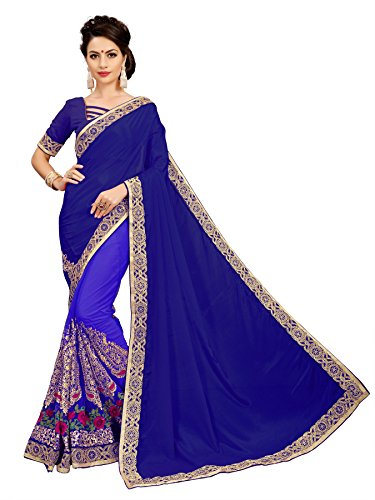 OSLC Blue silk Sarees Offer Designer Designer Blouse Beautiful For Women Party...