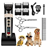 Pet Grooming Clippers, Focuspet LED Screen Rechargeable Cordless 3 Running Speed Dog Grooming Clippers Kit Low Noise Electric Hair Trimming Clippers Set For Small Medium Large Dogs Cats Other Animals Black