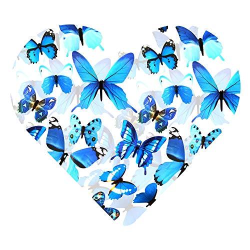 Dekowear 3d farfalle insieme realistica di 12 decorazione della parete con i punti adesivi per fissare a parete decorazione della parete della decalcomania della parete (blu)