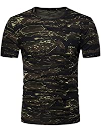 Camiseta Hombre,Longra ★ Camiseta de Camuflaje Hombre Militares Camisetas Deporte Ropa Deportiva Camisa de Manga Corta de Camuflaje Slim Fit Casual Para Hombres Tops Blusa
