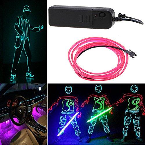 Possbay EL Draht Leuchten Neon Beleuchtung Mit Konverter Fuer Weihnachtsfeiern Halloween Kostuem Hochzeit 5M