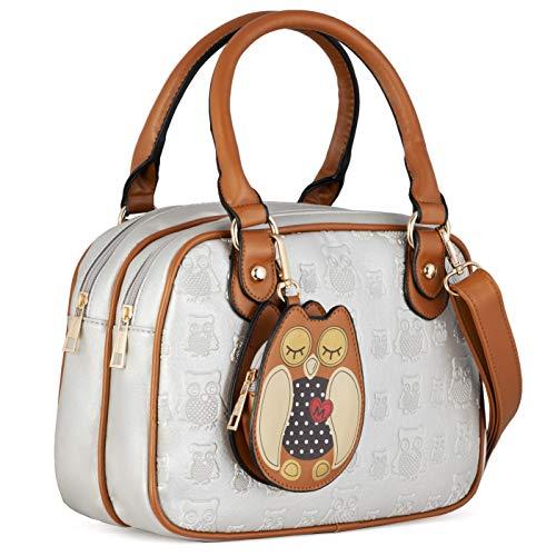 KukuBird Owl Münzen-Beutel Detail Muster-Leder-Designer Boutique Totes Handtasche perlweiß (Designer-münzen-beutel)