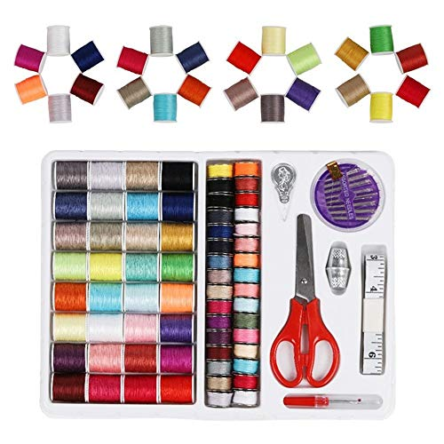 Mini Essentials Kit (KNDJSPR 70Pcs Nähzubehör Kit DIY Mini Needlework Essential Tools mit Scissor Tape Measure Thimble Thimble Thimble Theread-Nadelspeicherbox für Reiseeinsteiger Hausgebätmaschine)