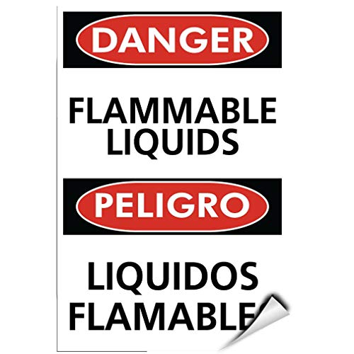 Label Decal Sticker Danger Flammable Liquids Peligro Liquidos Flamables Durability Self Adhesive Decal Uv Protected & Weatherproof
