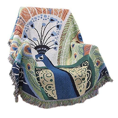 Encounter G Manta de algodón Puro Tejido de Doble Cara Azul Pavo Real Toalla de sofá Manta Transpirable Aire Acondicionado Sofá Cama Manta Alfombra con Mantel de Flecos 130 * 160 cm